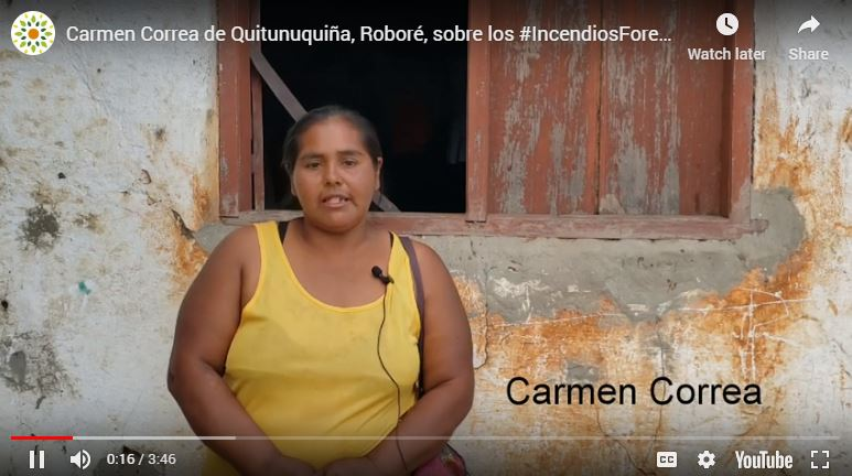 Videos de testimonios de afectadxs en laChiquitanía