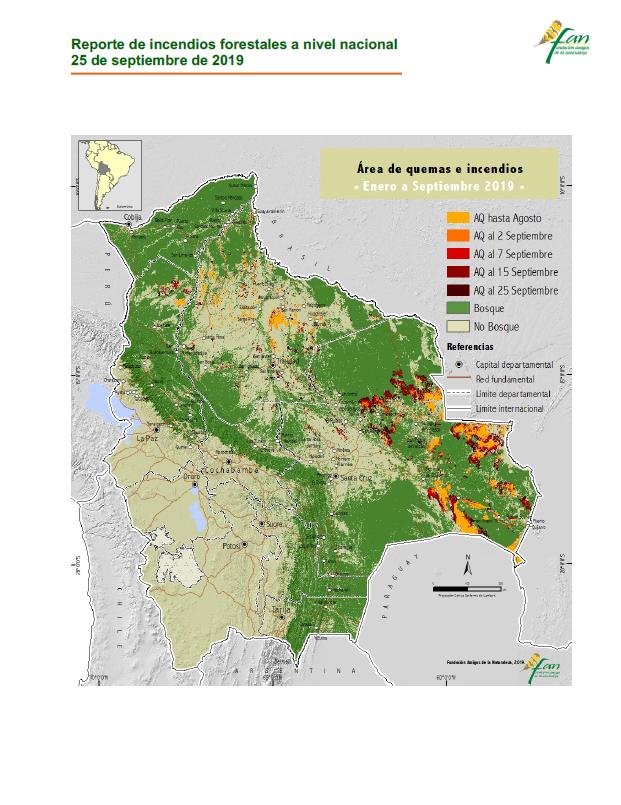 Reporte de la FAN señala que Bolivia perdió 5,3 millones de hectáreas en los incendios del2019