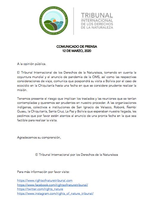 POSPUESTA VISITA DEL TRIBUNAL INTERNACIONAL DE LOS DERECHOS DE LA NATURALEZA ABOLIVIA