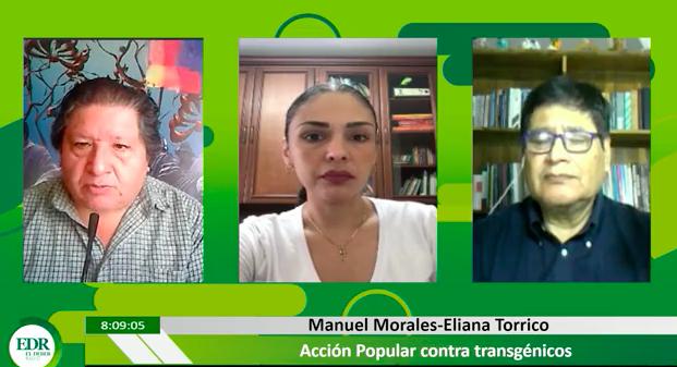 Eliana Torrico y Manuel Morales en entrevista, informando sobre la Acción Popular presentada en contra los Decretostransgénicos