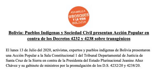 Bolivia: Pueblos Indígenas y Sociedad Civil presentan Acción Popular en contra de los Decretos 4232 y 4238 sobretransgénicos