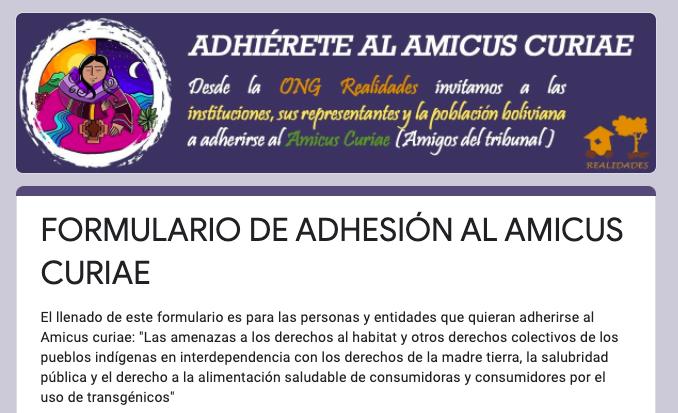 Convocamos adherirse al Amicus Curiae que respalda a la Acción Popular presentada contra los decretostransgénicos