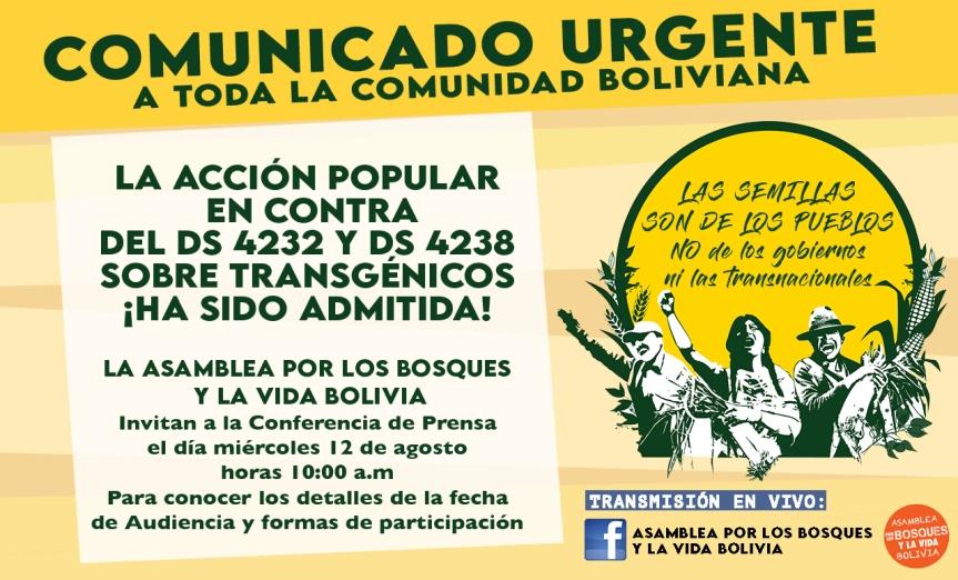 URGENTE: ASAMBLEA POR LOS BOSQUES Y LA VIDA CONVOCA A LA VIGILIA VIRTUAL DE LA AUDIENCIA EN CONTRA DE LOS DECRETOS TRANSGÉNICOS N°4232 YN°4238