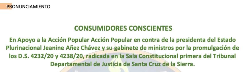 PRONUNCIAMIENTO DE CONSUMIDORES CONSCIENTES EN APOYO A LA ACCIÓNPOPULAR