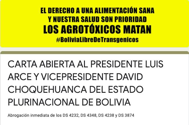 SOLICITAMOS ADHESIONES A LA CARTA ABIERTA, DIRIGIDA AL PRESIDENTE  Y VICEPRESIDENTE DE BOLIVIA, QUE EXIGE LA ABROGACIÓN DE LOS DECRETOSTRANSGÉNICOS